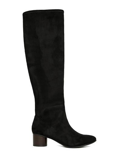 Nine West Kalın Topuklu Diz Üstü Çizme Siyah